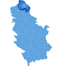 Map of Serbia Subdivision North Banat District vector