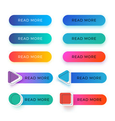Modern read more color buttons isolated vector