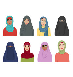 muslim girls avatars islamic fashion for women vector image