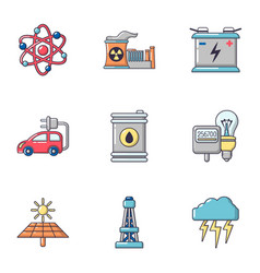 nuclear energy icons set cartoon style vector image