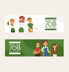 Part-time job young woman man character vector