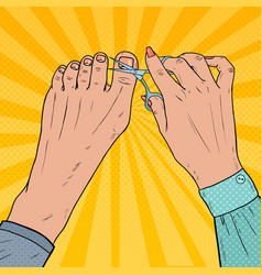 Pedicure beauty salon pop art female hands vector