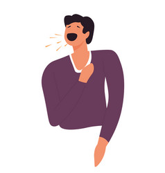 person coughing not using mask or tissues vector image