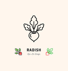 radish icon vegetables logo thin line art design vector image