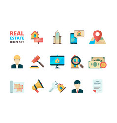 real estate symbols business house rent property vector image