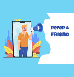 refer a friend character with megaphone sharing vector image