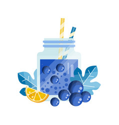Refreshing cocktail with lemon and blueberry vector