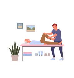 Rehabilitation for elderly people doctor doing vector