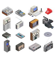 retro devices icon set vector image