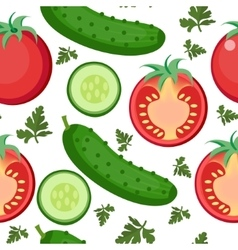 Salad seamless pattern Tomato and cucumber vector image