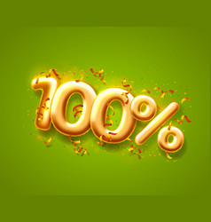 sale 100 off ballon number on green background vector image