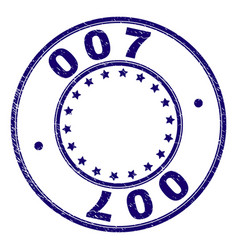 Scratched textured 007 round stamp seal vector