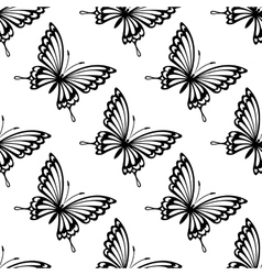 Seamless pattern of flying butterflies vector