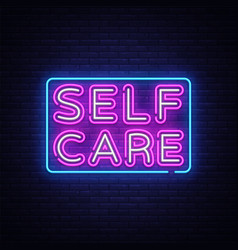self care neon sign motivational feel good vector image