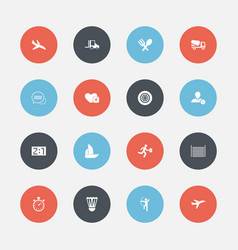 set of 16 editable complex icons includes symbols vector image
