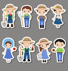set of farmer girl and boy stickers set of farmer vector image