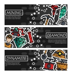 Set of Horizontal Banners about Mining vector