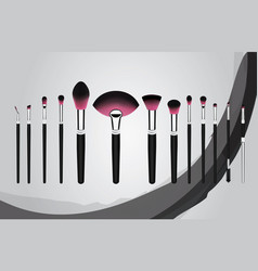 Set of makeup cosmetic brushes vector