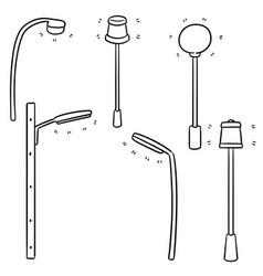 set of outdoor lamp vector image