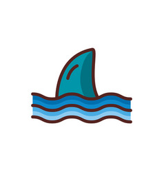 Shark fin sea animal line color style icon vector