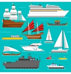 Ship and boats sea symbols vector image