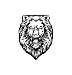 Silhouette angry lion clipart vector