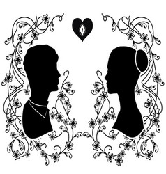Silhouette wedding flourishes 3 vector