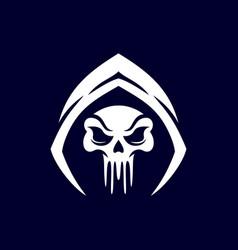 Skull in hood logo design vector