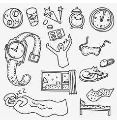 Sleeping time - doodles set vector image