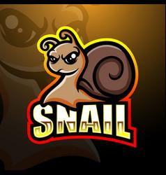Snail mascot esport logo design vector