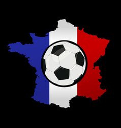soccer ball and a france map with france flag vector image