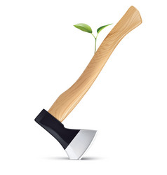sprout grows from an axe isolated save earth vector image
