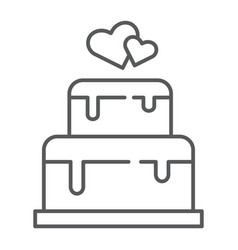 Stacked cake thin line icon dessert and love vector