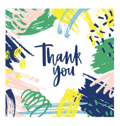 Thank you note template with frame consisted vector