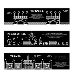 travel and recreation flat banners template vector image