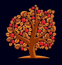 Tree with ripe apples harvest season theme Fruitf vector image