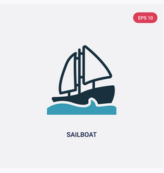 two color sailboat icon from nautical concept vector image