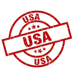 Usa red round grunge stamp vector