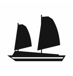 Vietnamese junk boat icon simple style vector