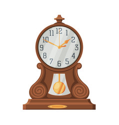 Vintage wooden table clock retro style time vector