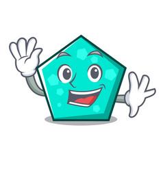 Waving pentagon character cartoon style vector