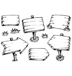 wooden boards drawings collection vector image
