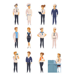 yacht ship cartoon characters set vector image