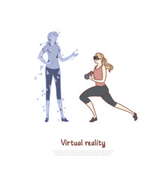 Young woman in vr headset doing exercise coach vector