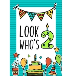 Birthday Kids card with colorful numeral vector image vector image
