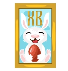 Easter Bunny with chocolate egg picture on wall vector image vector image