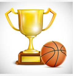 Golden Trophy Cup With Basketball vector image vector image