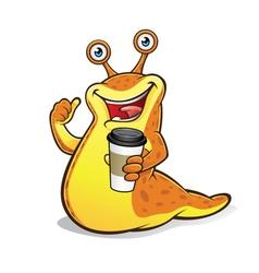 Slug with a Cup of Coffee vector image vector image