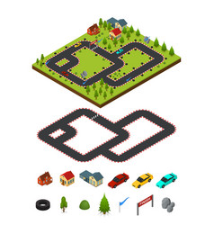 track racing and element set isometric view vector image vector image