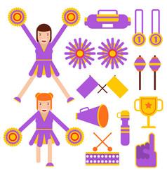 cheerleading elements and cheerleader girls vector image